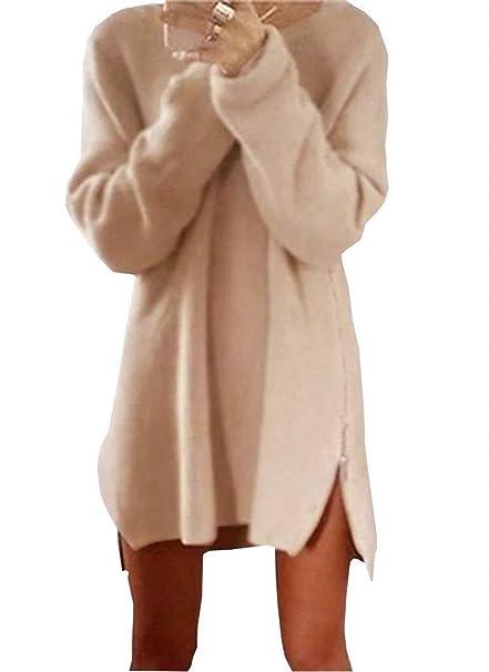 Pullover Largo Mujer Otoño Invierno Elegantes Moda Jersey Largo con Cremallera Abiertas Manga Larga Cuello Redondo Sencillos Color Sólido Pullover Punto ...
