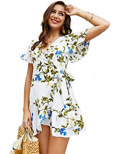 Milumia Women Wrap V Neck Ruffle Floral Short Sleeves Summer Mini Dress White S
