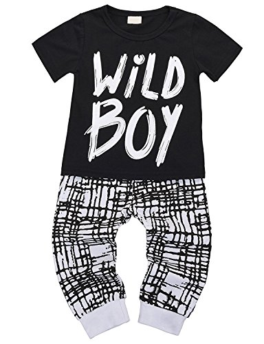Toddlers Baby Boys Clothes Summer Set Short Sleeve Wild Boy T-Shirt Tops Pants Outfit (12-18 Months)