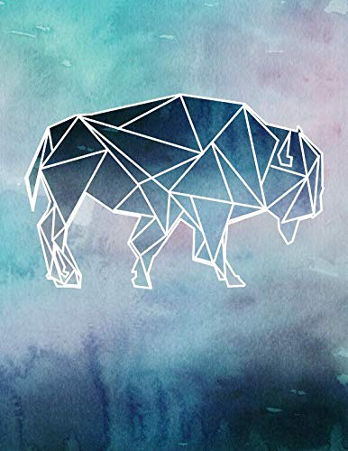 Buffalo Silhouette - Notebook: Geometric Buffalo Silhouette Watercolor College Ruled Line Paper 8.5