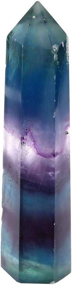 Wankd arco iris fluorita varita de cristal fluorita natural punto de piedra facetas piedras curativas reiki chakra meditación terapia piedra preciosa
