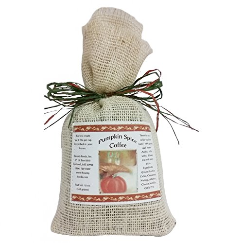 Pumpkin Spice Ground Coffee 12oz Rustic Burlap Bag From Montana Bounty Foods Great for your Holidays or Breakfast (Pump Spice Coffee, 12oz)
