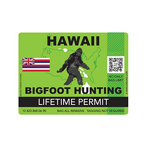fagraphix Hawaii Bigfoot Hunting Permit Sticker Die Cut Decal Sasquatch Lifetime FA Vinyl - 4.00 Wide