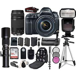 Canon EOS 5D Mark IV Digital SLR Camera Bundle with EF 24-105mm f/4L IS II USM Lens + Canon EF 75-300mm f/4-5.6 II Lens + Professional Accessory Bundle (15 items)