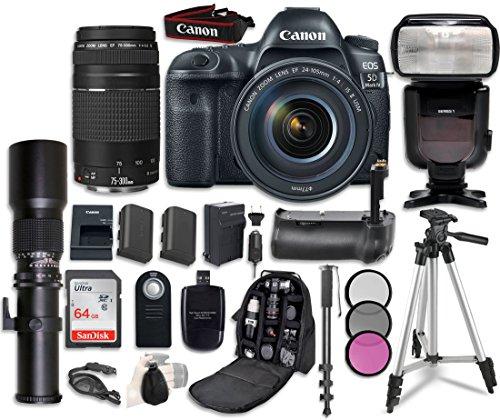 Canon EOS 5D Mark IV Digital SLR Camera Bundle with EF 24-105mm f/4L IS II USM Lens + Canon EF 75-300mm f/4-5.6 II Lens + Professional Accessory Bundle (15 items) ()