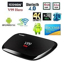 V99 Hero Android 5.1 TV Box 4GB 32GB Smart Set top Box RK3368 4K Octa-core WIFI 2.4G/5G+AC YoutubeNetflix Media Player PK H96 pro KDOI16.1