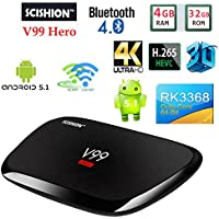 V99 Hero Android 5.1 TV Box 4GB 32GB Smart Set top Box RK3368 4K Octa-core WIFI 2.4G/5G+AC YoutubeNetflix Media Player PK H96 pro KDOI16.1