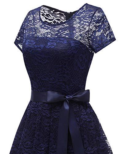 Marina Bridesmay Escote Floral de Opaco Manga Corta de Honor Encaje de Plisado Semi Mujeres Vestido Dama xwpfxC