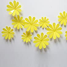 ufengke® 12-Pcs 3D Flowers Wall Stickers Fashion Design DIY Flowers Art Decals Crafts Home Decoration, Yellow