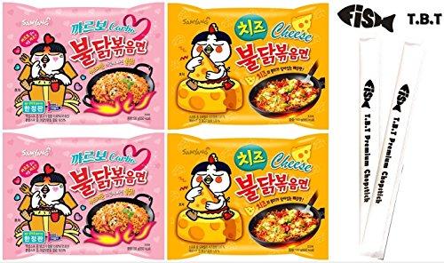 TBT Fish Korean Spicy Noodles Variety Pack Samyang Carbo Spicy Hot Chicken Flavor Ramen 2Pcs Cheese buldak 2Pcs Plus 2 TBT Premium Fish Logo Chopsticks (Cabo2Chee2) ()