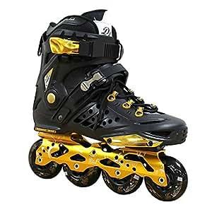 Kingdom GB DLF Dynamic Wind - Patines en línea de Freestyle, velocidad y slalom, Hombre, negro y dorado, 36