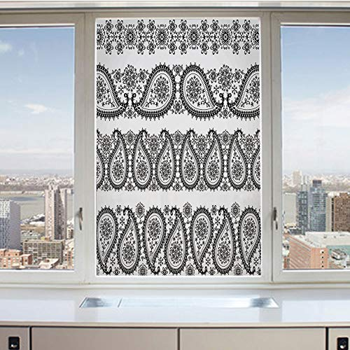3D Decorative Privacy Window Films,Winter Themed Design and Lace Like Ornaments with Flowers and Snowflakes,No-Glue Self Static Cling Glass Film for Home Bedroom Bathroom Kitchen Office 24x36 Inch