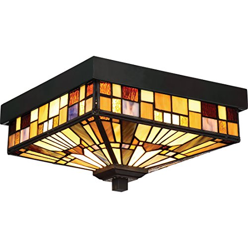 Quoizel TFIK1611VA Inglenook Outdoor Tiffany Mission Flush Mount Ceiling Lighting, 2-Light, 120 Watts, Valiant Bronze (6