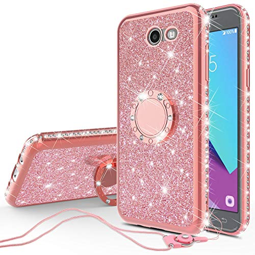 Compatible for Samsung Galaxy J7v/Galaxy J7 Prime 2017/Galaxy J7 Perx/Galaxy J7 Sky Pro Case Cute Girl/Women Rhinestone Bumper Sparkling Glitter Bling Diamond Cover with Ring Stand - Rose Gold