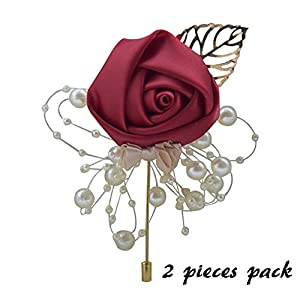 Florashop 2 pcs Package Satin Rose Gold Colored Leaf Men's Boutonniere Groom Boutonniere Bridegroom Boutonniere for Wedding Prom Party (Wine Red) 74