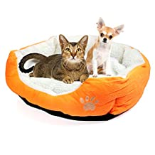 EverTrust(TM)Soft Pet Dog Nest Puppy Cat Bed Fleece Warm House Kennel Plush Mat 4 Colors,Orange