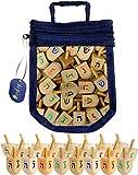 Wood Dreidels Draydel Game with Instructions in keepsake Draydel Shaped Bag (25-Pack)