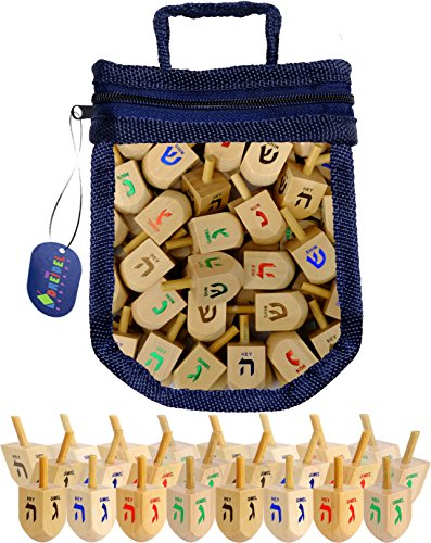 Wood Dreidels Draydel Game with Instructions in keepsake Draydel Shaped Bag (25-Pack) by The Dreidel Company