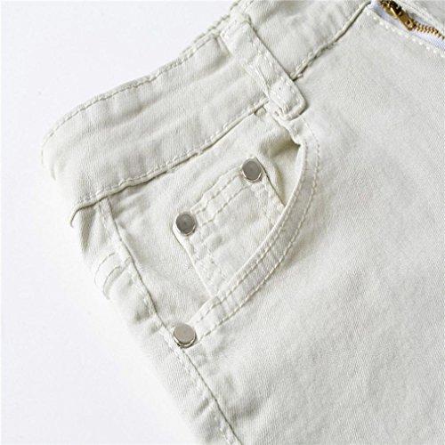 Pantalones running rotos Sonnena vaqueros streetwear Slim Pantalones Denim Fit patchwork jeans motocicleta largo pantalones Cremallera moda GRIS hombres hiphop Hombres r6ErTpqw