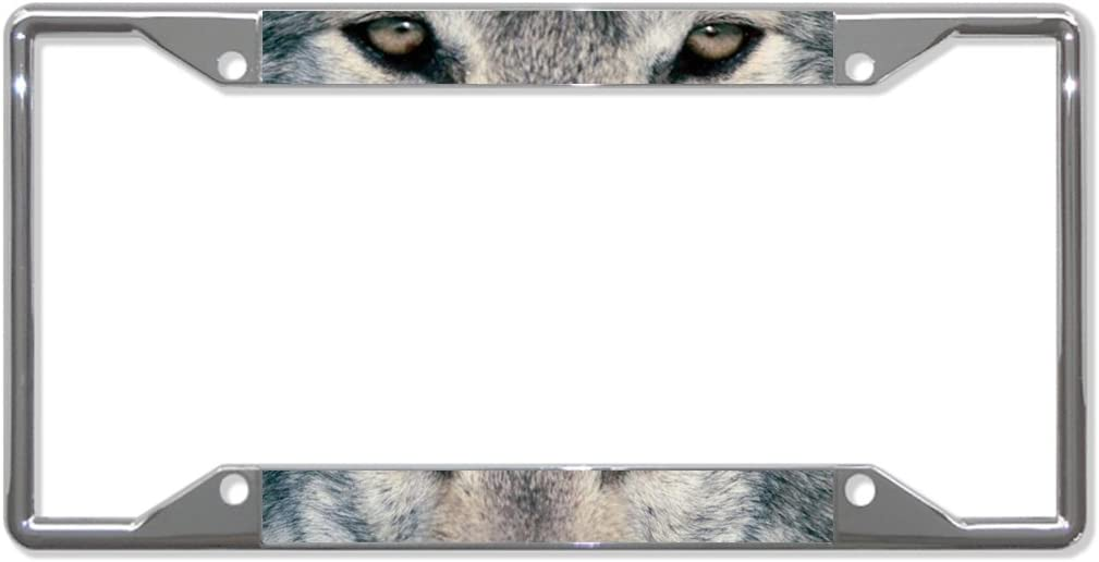 Fastasticdeals Wolf Animal Eyes License Plate Frame Tag Holder Cover