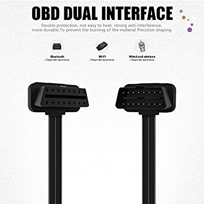 FOXWELL OBD2 OBD II Flat Ribbon 16Pin Male to Female Diagnostic Extension Convert Cable for Bluetooth Wifi ELM327 Readers OBDII Code Scanners 23.6 (inch): Automotive