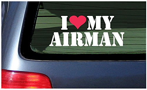 I Love My Airman Vinyl Sticker Decal ~ White with Red Heart
