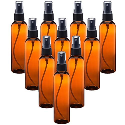 120 Ml Tester - 4 oz (120ml) Amber PET Bottles Refillable - Boston Round spray bottles for essential oils Blends - Great for DIY Projects - Set of 10 with 10 Black Mist Spray