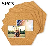 Trendership 5 Pack Hexagon Cork Tiles Self Adhesive Mini Wall Bulletin Boards,Pin Board-Decoration for Pictures,Photos,Notes,Goals,Drawing,Painting