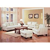 2 PCs Cream Classic Leather Sofa and Loveseat Set