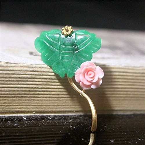 THTHT Brooch Pendant Dual-Use Shell Flower Women's Accessories Cyan Jade Carving Butterfly Handmade Corsage Vintage Exquisite High-End Jewelry Luxury