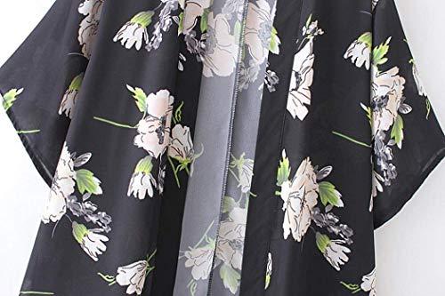Kimono Kimono Kimono Ragazza Baggy Baggy Baggy Elegante Coat Moda Stampate Floreale Camicetta Schwarz 3 Manica Cardigan Autunno Giovane Chiffon Cappotto Donna 4 Primaverile Sottile caZUUR