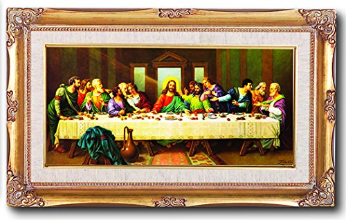 (1 7/18) Last Supper Painting by Zabateri 11x19 Genuine Gold Leaf Wood Frame Linen Boarder Under Glass Comes With Exclusive Copyrighted Paul Herbert Blessing