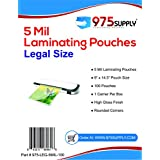 "975 Supply - 5 Mil Clear Legal Size Thermal Laminating Pouches - 9"" X 14.5"" - 100 Pouches"