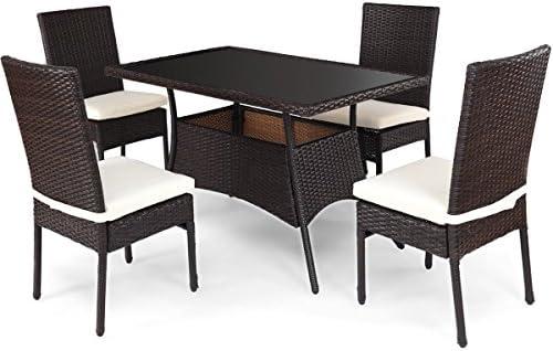 Juego de mesa de comedor con 4 sillas acolchado al aire libre ...