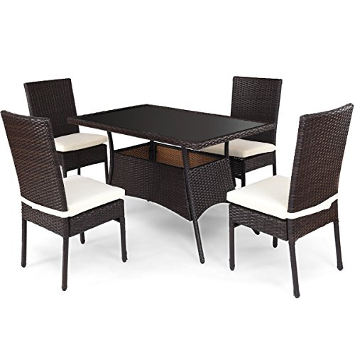 18.5' Single (Brown 5Pcs Patio Rattan Tempered Glass Table Furniture Set w/ 4 Dining Chairs & 4 Cushions)