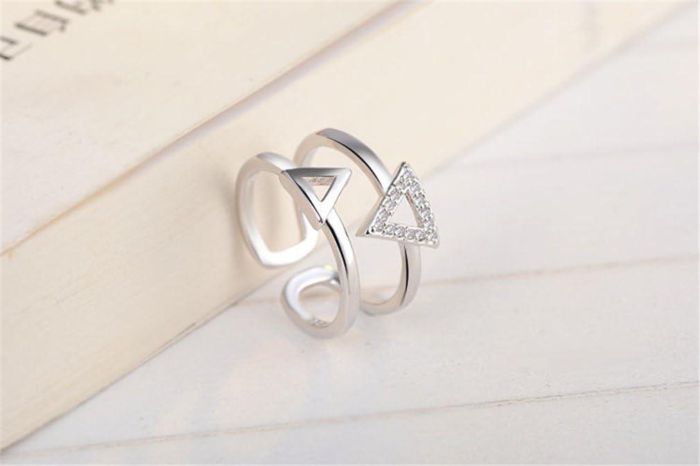 Boowhol Femme Fille Bague femme argent 925 Fantaisie double triangle Avec Diamant Promise anneau de la queue de lindex R/églable Argent