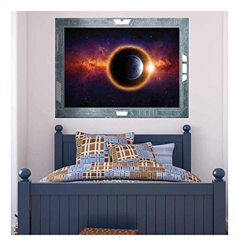 Wall26 - Science Fiction ViewPort - Decal - Earth being Surrounded by Spectacular Planets - Wall Mural, Removable Sticker, Home Decor - 36x48 inches