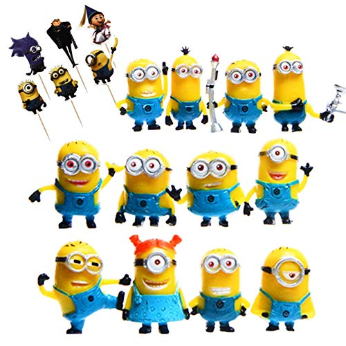 (Minion Figures 24 Set/Despicable Me 12 pcs Mini Figurines With 12 Pcs Cupcake Toppers Picks Party)