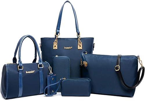 FiveloveTwo Femmes Mode 6Pcs Bag Set PU cuir Sac portés main + Fourre Tout + Sac à Bandoulière + Portefeuille + Titulaire de la Carte Pochettes