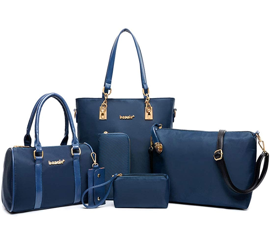 FiveloveTwo Women Ladies 6 Pcs Handbag Set Hobo Top Handle Bag Totes Satchels Crossbody Shoulder Bags and Purse Clutch