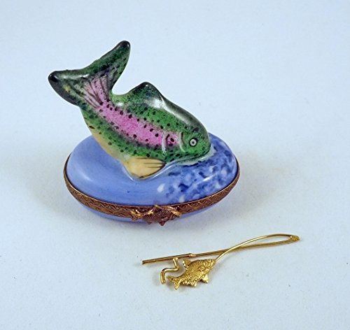 - Authentic French Porcelain Hand Painted Limoges Box Father 's Day Amazing Rainbow Trout Fish with Miniature Fishing Poll with Fish