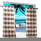Extra Wide Gingham Plaid Outdoor Curtain 150'' W x 84'' L Eyelet Grommet For Traverse Rod at Front Porch Pergola Cabana Covered Patio Gazebo Dock and Beach Home NATURAL BROWN
