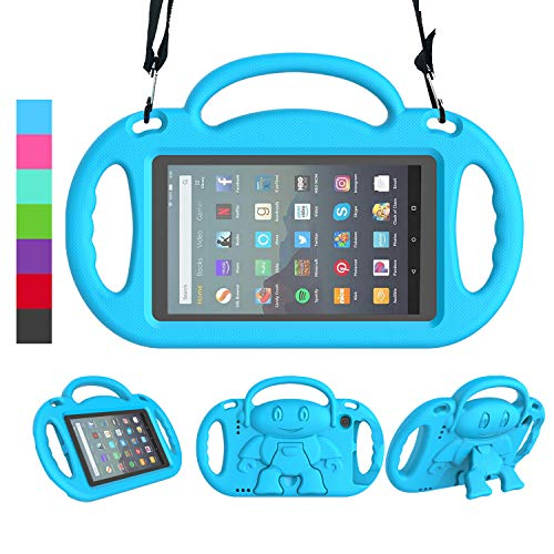 LEDNICEKER Kids Case for All-New Fire 7 Tablet (9th Generation - 2019 Release) - Shockproof Handle Friendly Kids Stand Case with Shoulder Strap for Amazon Fire 7 2019 and 2017 (7 Inch Display), Blue