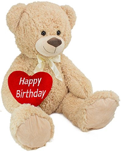 BRUBAKER XXL Plush Teddy Bear - Stuffed Animal - 40 Inches Tall - with 'Happy Birthday' Plush Heart - Perfect Birthday Gift