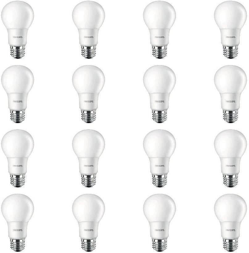 Philips LED Non-Dimmable A19 Frosted Light Bulb: 450-Lumen, 5000-Kelvin, 5-Watt (40-Watt Equivalent), E26 Base, Daylight, 16-Pack