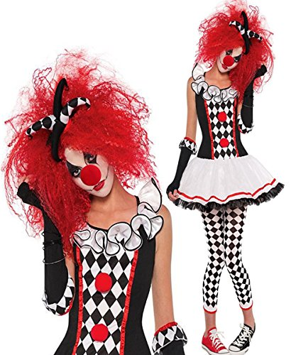 Womens Evil Clown Costumes (Halloween Clown Costumes Evil Jester Joker Makeup Harlequin Honey Costume Pantomime Mime Creepy Cosplay Cosplay Outfit With Circus Sweetie Clown)