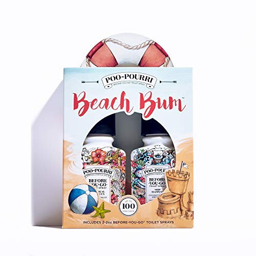 Poo-Pourri Before-You-Go Toilet Spray, Beach Bum Set of 2, Ship Happens & Tropical Hibiscus Scent ()