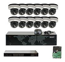 GW Security GW2216E3067IP-12-4T 16 Channel 5MP NVR 12x3.0 MP 1536P IP Security Camera System (4TB HD)