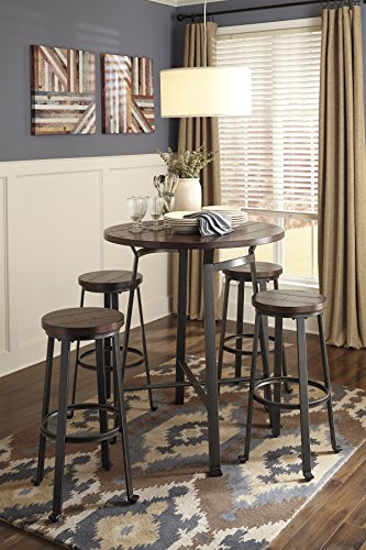 Challemy Rustic Brown Round Dining Room Bar Table w/ 4 Tall Metal Wood Barstools