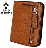 YALUXE Women's RFID Blocking Small Compact Leather Wallet Ladies Mini Purse with ID Window Brown RFID